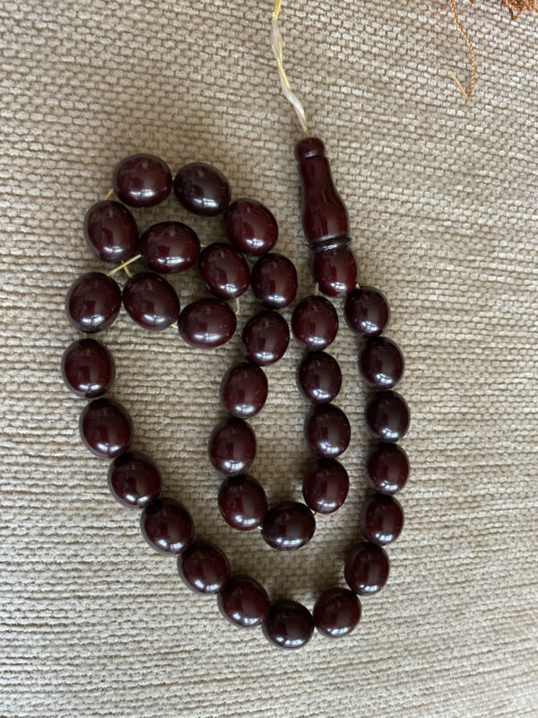 CHERRY AMBER BAKELITE SIKMA KEHRIBAR FATURAN PRAYER  66 g Iskender MISBAH TESBIH