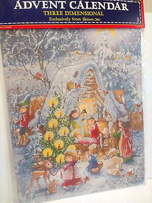 Vintage Advent Calendar 3-D Dimensional Manger Children Nativity Animals Denmark ()