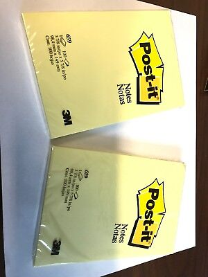 Post-it Notes Yellow 4 X 6-inches Unlined 100 Sheet Pack Lot Of 2 New 200 Sheets
