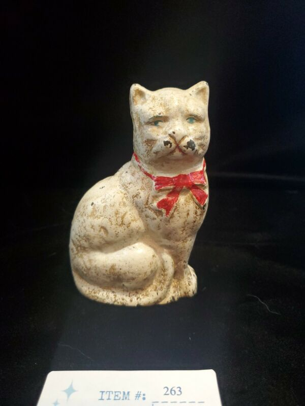 Antique Hubley Cast Iron Cat Bank White With Red Bow Hand Painted 4.5""