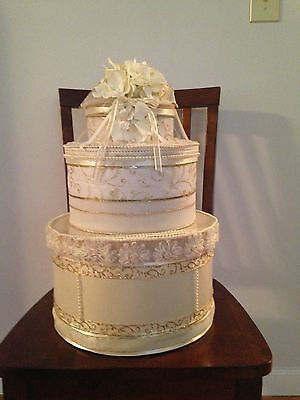 Gold/Ivory Wedding Wishing Well, Card Box - ...