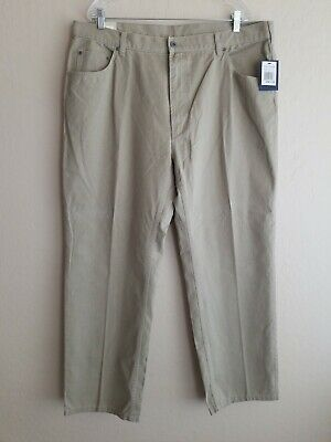 Nautica Clipper Men's Relaxed Casual Fit Plain Front Tan/Khaki Pants Size 40x32