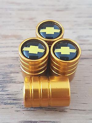 Chevrolet GOLD DELUXE car Valve Alloy wheel dust Caps All models 8 Colours