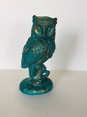 Vintage Turquoise Teal Gold Chic Ceramic Owl Figurine 5.25""