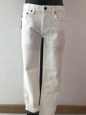 John Varvatos USA White Skinny Jeans with Frayed Cut Off Hem Size W32 RRP £170