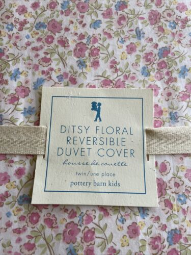 Pottery Barn Kids Ditsy Floral Duvet Twin NWT Blue Green Pink Yellow Reversible - $19.99