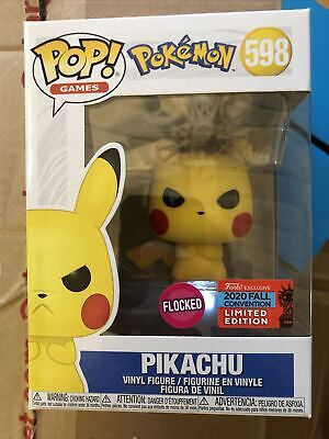 Funko POP! Pikachu *Flocked* 598 Angry Pokemon 2020 Fall Convention NYCC In Hand