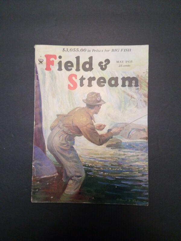 May 1935 Field and Stream Magazine Jaguar Hunting - Wyoming Elk - Steelhead