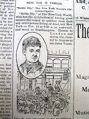 1890 newspaper w portrait NELLY BLY ends her trip AROUND THE WORLD in 80 (Nellie Bly Around The World In 80 Days)