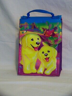 Lisa Frank Lunch Bag Box Yellow Puppies Dogs Bird Desert Scene Purple Pink