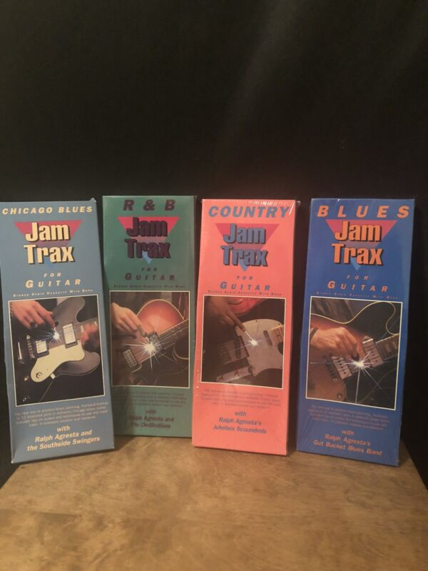 New Lot of 4 Jam Trax for Guitar Audio Cassettes with Book
