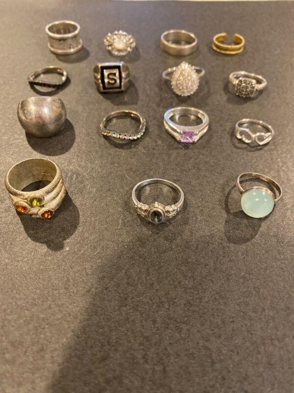 Vintage Sterling Silver LOT OF Nice 15 Rings