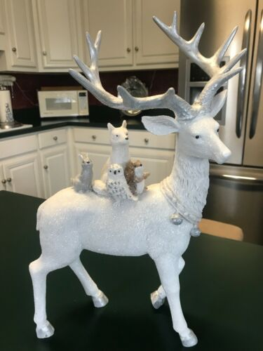 """White and Silver Deer With Woodland Animals Winter Holiday Figurine 15.5"""" Tall"""