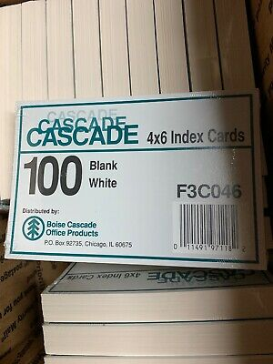 Cascade 1600 Index Cards 4 X 6 Inch Blank White Lot Of 1600
