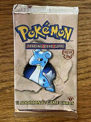 Pokemon 1st EDITION Fossil Booster Pack Factory Sealed (Laprus Art) 20.92g