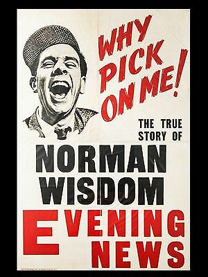 "Norman Wisdom Newspaper Banner 16"" x 12"" Reproduction Movie Poster Photograph"
