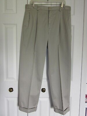 Nautica Classic Fit Khaki Pleated Pants 36 X 30 EUC
