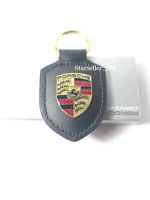 NEW IN BOX GENUINE OEM PORSCHE CREST Keyring Key Chain KeyFob Jet Black Leather