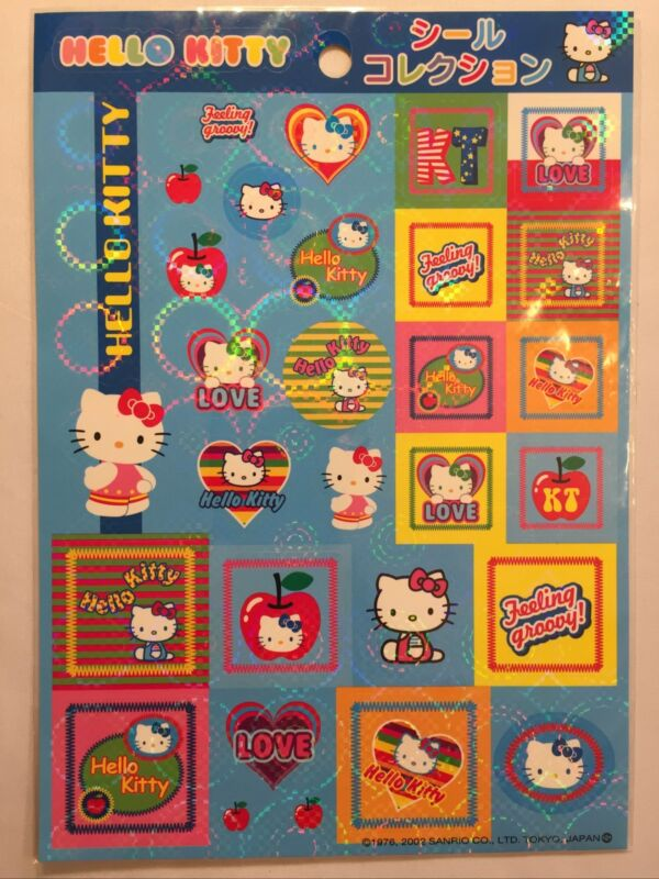 Sanrio 2002 Hello Kitty Feeling Groovy! Stickers Made In Japan New In Package