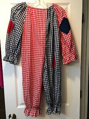 Vintage Clown Costume Red White Blue Checkered w Ruffles Youth Kid Size MED (M)