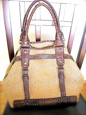Francesco Biasia Rattan Woven/Leather Bag