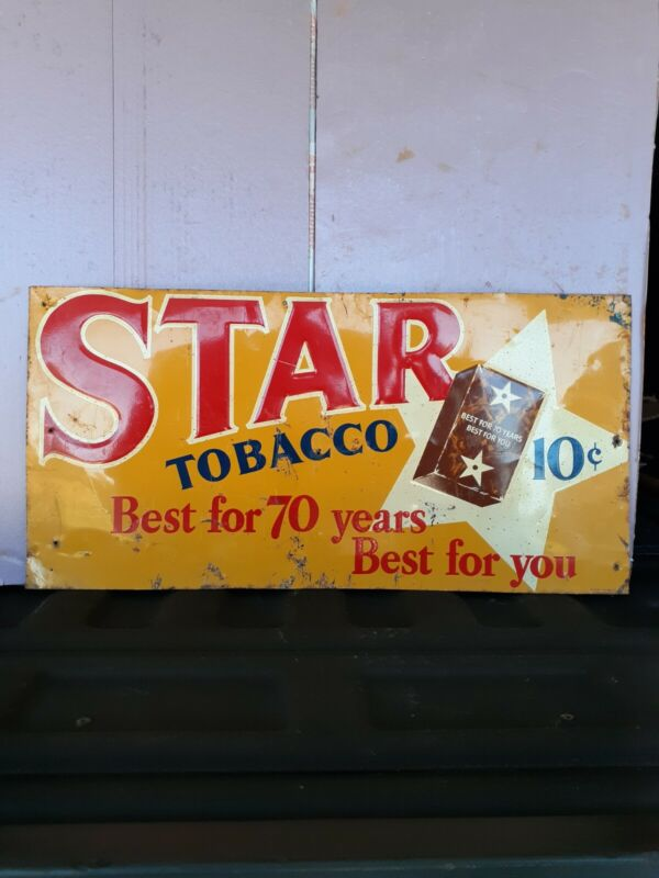 VINTAGE STAR TOBACCO ( EARLY TIN TACKER EMBOSSED)