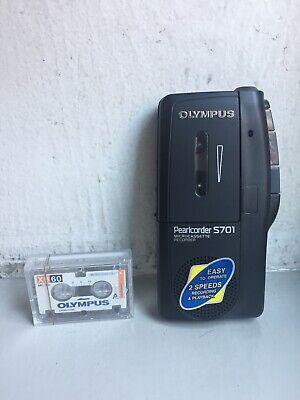 Olympus Pearlcorder S701 Microcassette Recorder With 2 Cassette Tape. Works.