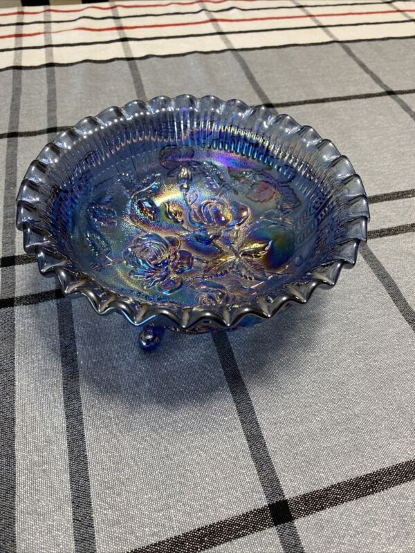 Vintage Open Rose Amithist Carnival Glass Footed & Ruffled  Bowl