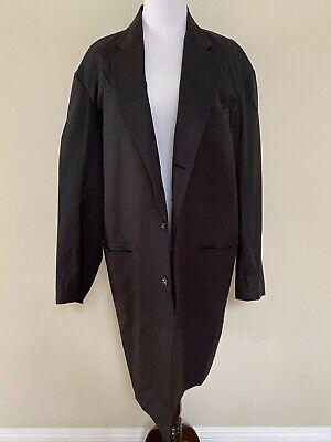 NWT R13 Crombie Solid Black Cotton Off Shoulder Oversized Blazer Coat Sz L $895