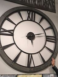 LARGE 60 DARK RUSTIC BRONZE ROUND WALL CLOCK BIG ROMAN NUMBERS RUST GRAY FRAME