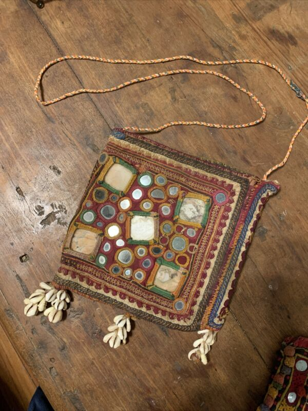 Antique Banjara Ceremonial Bag with Embroidered Mirrors And Cowrie Shells