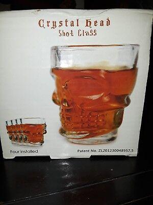 (4Pcs Crystal Skull Head Shot Glass Vodka Whiskey Home Bar Drinkware Crystal Cup)