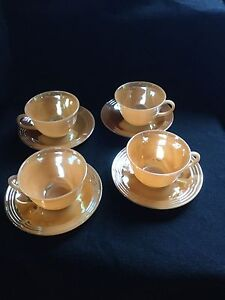 4 Peach Lustre FireKing Teacups & Saucers-please check other ads