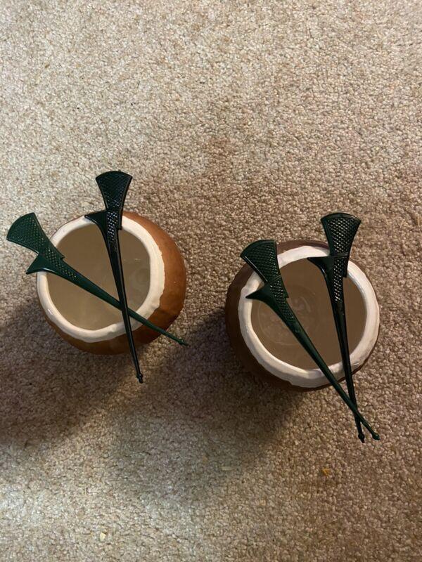2 Vintage Trader Vics Coconut Tiki Mugs With 4 Tiki Swizzle Sticks. EUC 1960's