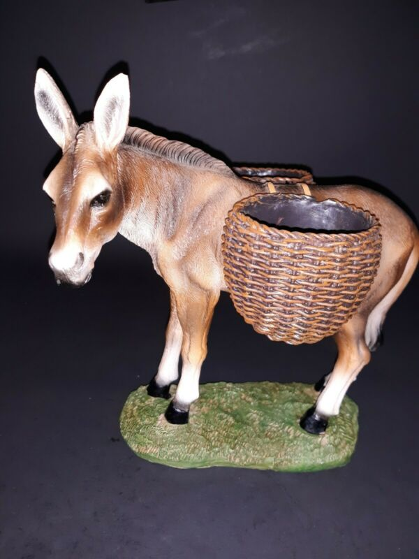 Donkey Figurine Carrying Baskets Marked Dwk 2018 7 1/2 in tall