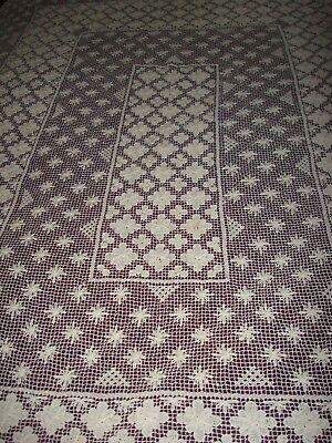 Antique Handmade White BELGIUM Needle Lace Tablecloth/Bedspread 80 X 62