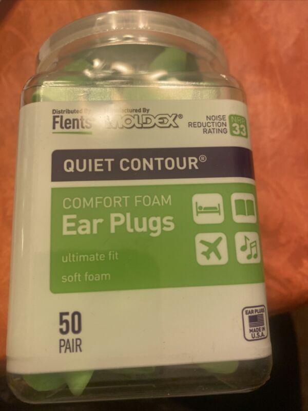 Flents Quiet Contour Ear Plugs 50 Pair NRR 33 New Sealed Container