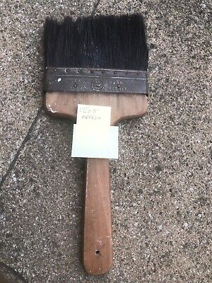 Vintage Paint Brush British Made Old Decorators Tools Pure Bristle Steel Band - Vintage Paint Brush