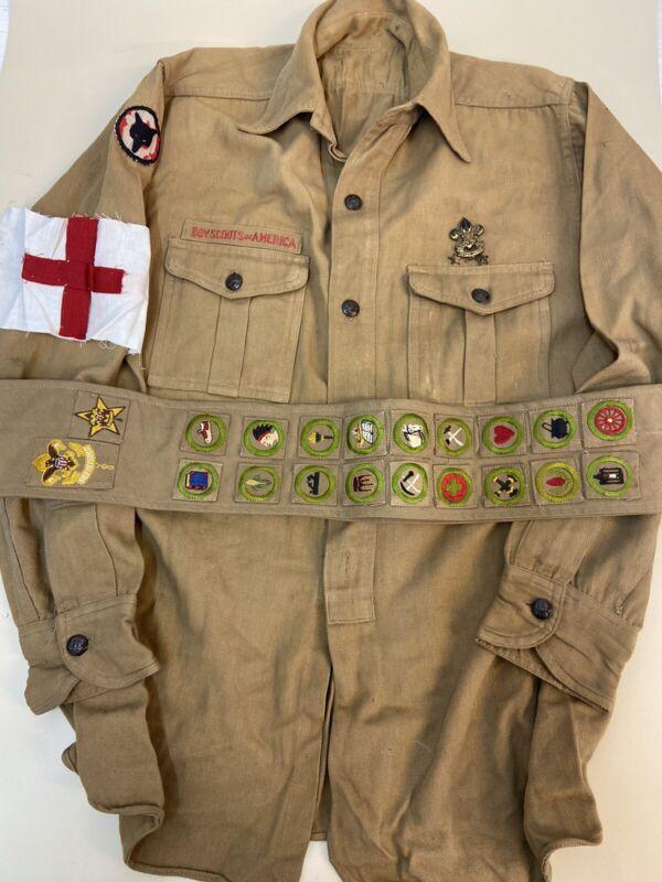 BOY SCOUTS 1910-1920's Sash 20 Merit Badges Squares Type 1 Shirt Medic ? Eagle