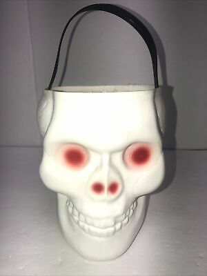 Vintage Empire Plastic Blow Mold White Skull Skeleton Halloween Candy Bucket