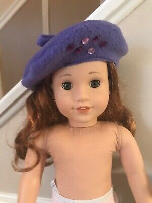 "Purple Fleece Beret Hat With Gems Made For 18"" American Girl covid 19 (Fleece Doll Hat coronavirus)"