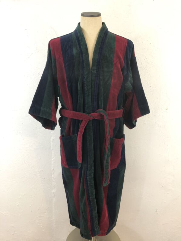 Vintage 80s Christian Dior Mens Robe De Chambre Striped Cotton OS with Belt