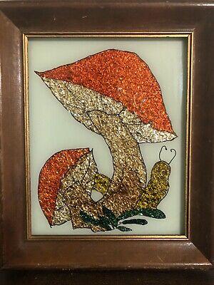 Vintage Mushroom And Snail Framed Foil Art