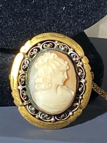 Antique Genuine Shell Cameo Pendant Golden Fancy Scroll Frame Trombone Clasp Pin