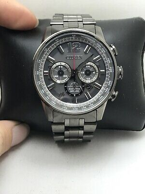 Citizen Eco-Drive Nighthawk Chrono Gray Stainless St Men's Watch CA4377-53H-H22