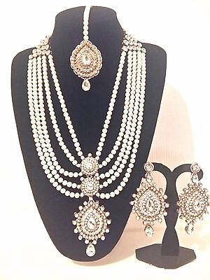 New Indian Costume Jewellery Long Necklace Set Gold Plate White Stones Pearl