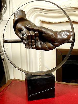 Bronze Sculpture Statue Holding Hands Symbol of Love Contemporary Art Interior
