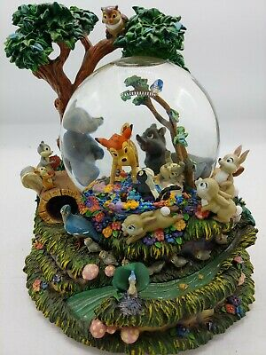 Disney Bambi Snowdome Music Box Rare Rabbits Skunk Birds Chipmunk Owl Raccoon