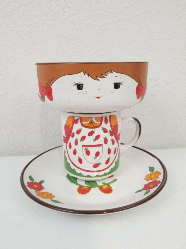 Vtg INTERPUR Child's Ceramic Strawberry Girl Stacking Bowl Mug Plate Set