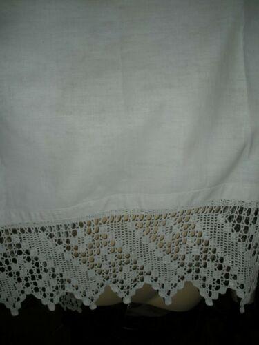 Vintage Linen Bath Show Towel Crochet Lace 28X45 cotton linen